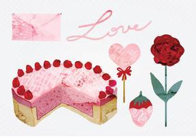 Aquarelle vectorielle Éléments de la Saint-Valentin
