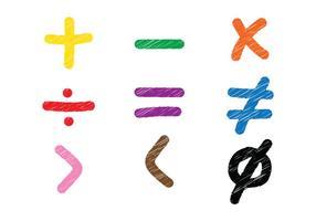 Vecteurs de croquis de symboles mathématiques vecteur