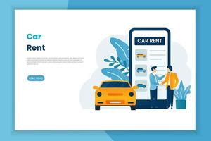 modèle de page Web de service de location de voiture mobile vecteur