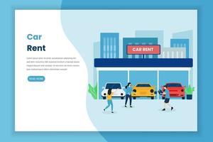 page de destination de location de voiture vecteur