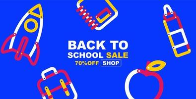 bannière de vente d'école avec des éléments éducatifs colorés