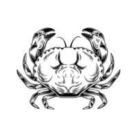 dessin de crabe vintage dessiné à la main vecteur