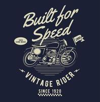 conception de moto vintage avec texte construit pour la vitesse