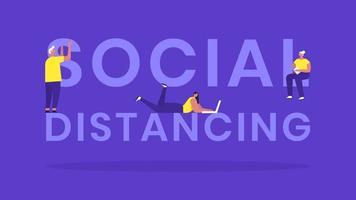 bannière de typographie de distanciation sociale avec des gens