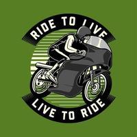 emblème de coureur de moto classique sur vert