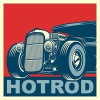 affiche de hot rod bleu et rouge