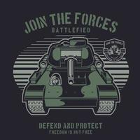 char de guerre vert sur fond sombre