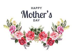 carte de fête des mères avec couronne de fleurs aquarelle vecteur