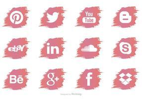 Icônes de vecteur de médias sociaux de brosse