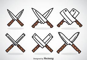 Ensembles d'icônes Cross Knife vecteur