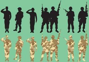 Silhouettes de vecteurs d'escouade militaire vecteur