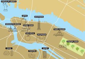 Carte touristique New York Vector