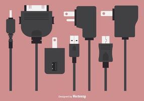 Éléments vectoriels des chargeurs de téléphone plat vecteur