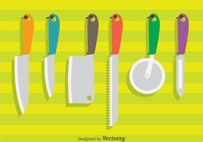 Ensemble de couteaux suspendus vecteur