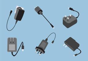 Divers types de vecteur de chargeur de téléphone