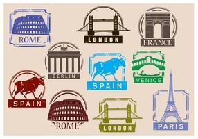 Vecteurs de timbres de voyage vecteur