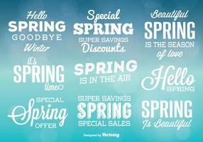 Étiquettes vectorielles typiques de printemps
