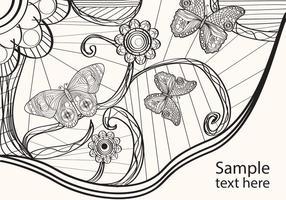 Coloriage pour adultes Papillon Vector