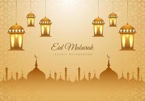 islamique eid mubarak tan mosquée silhouette lanternes fond
