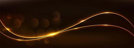 bannière abstraite vague rougeoyante dorée
