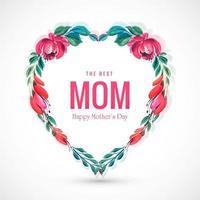 belle fête des mères carte fleurs décoratives coeur fond vecteur