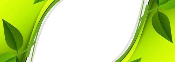bannière de vague de feuille verte abstraite