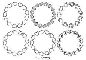 Cadres vectoriels à coeur variés vecteur