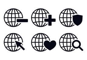 Vecteurs d'icônes du monde de la grille vecteur