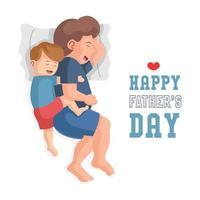 père et fils câlins et dormir vecteur