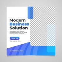 modèle de publication de médias sociaux d'entreprise de forme bleue transparente