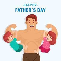 super papa avec ses enfants accrochés à ses bras vecteur