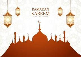 Ramadan kareem salutation avec silhouette de la mosquée brune vecteur