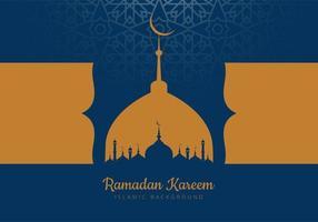 carte de ramadan avec des silhouettes de mosquée bleu et or