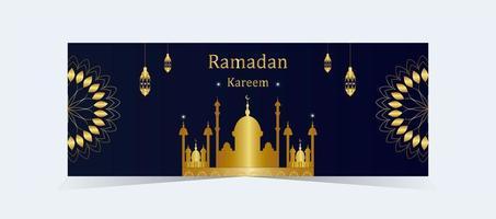bannière de silhouette de mosquée d'or élégant ramadan kareem