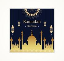 carte de ramadan kareem silhouette et lanterne or mosquée