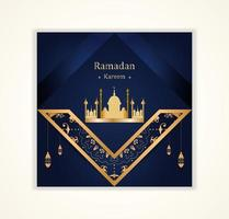 ramadan kareem social post avec des éléments angulaires ornés
