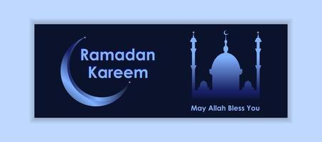 bannière de médias sociaux dégradé bleu ramadan kareem
