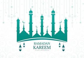 ramadan kareem vert bleu mosquée silhouette