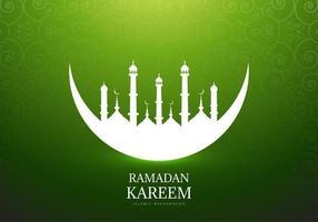 lune avec silhouette de mosquée pour ramadan kareem