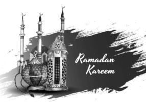 carte de ramadan islamique dessiné à la main en noir et blanc