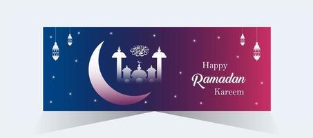 bannière de ramadan kareem dégradé rose et bleu