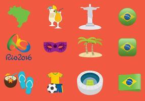 Icônes du Brésil vecteur