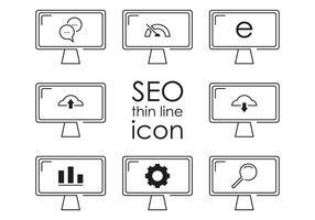 Vecteurs d'icônes seo de ligne mince
