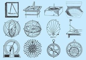 Cadrans de soleil à dessin de style ancien vecteur