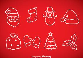 Icônes de contours de Noël vecteur
