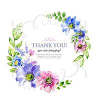 Couronne florale aquarelle colorée