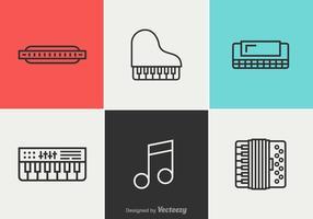 Icônes de ligne de vecteur de musique gratuite