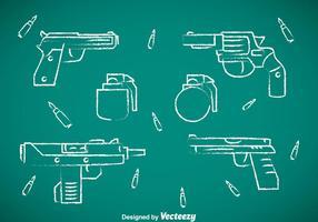 Collection de fusils icônes de dessin à la craie vecteur