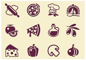 Icônes simples de vecteur de pizza