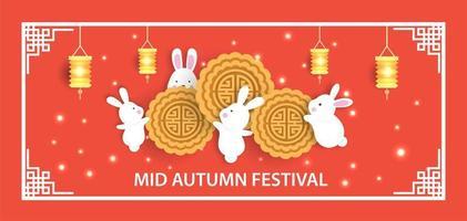 bannière de festival de mi automne avec des lapins mignons